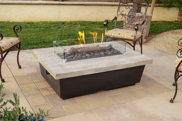 """52"""" Chat Height Reclaimed Wood Contempo Rectangle Firetable by American Fyre Design"""