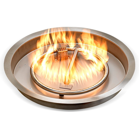 """19"""" Round Stainless Steel Drop-in Fire Pit Pan With Electric Ignition System kit"""