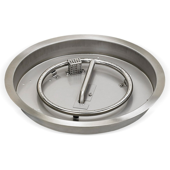 """25"""" Round Stainless Steel Drop-in Fire Pit Pan With Electric Ignition System kit"""