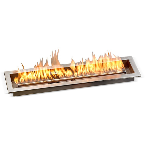 """30"""" x 6"""" Stainless Steel Linear Drop-in Fire Pit Pan With Electric Ignition System kit"""