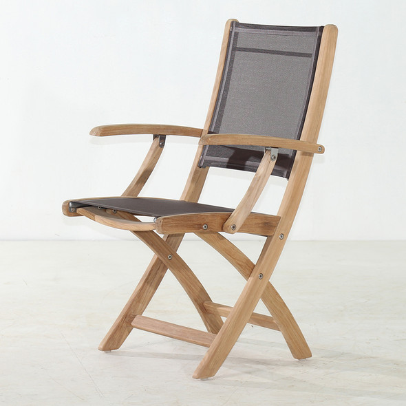 Classic Teak Batyline Folding Arm chair Brown