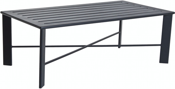 "Modern Rectangular Aluminum 50""x28"" Slatted Top Coffee Table by OW Lee"
