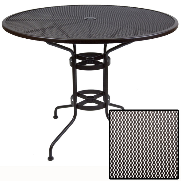 "Micro Mesh Round 48"" Bar Table with 1.625"" Umbrella Hole by OW Lee"