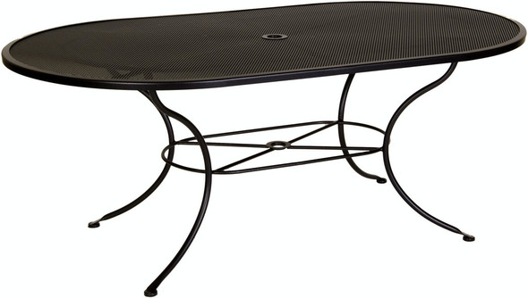 "Micro Mesh Oval 72"" Dining Table with 1.625"" Umbrella Hole by OW Lee"