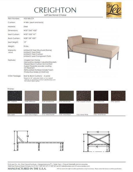 Creighton Left Sectional Chaise by OW Lee