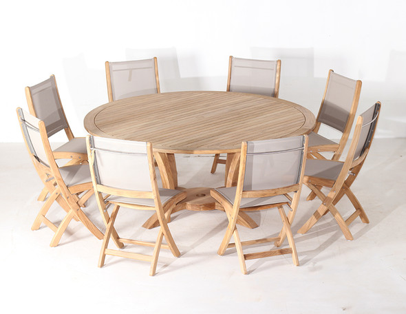 NEWPORT TEAK TABLE SET 9PC