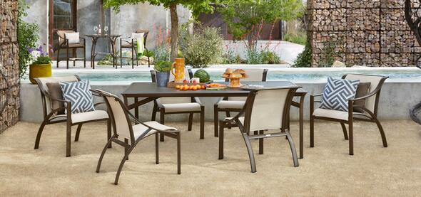 Pasadena Solid Aluminum dining Table Set  by Brown Jordan