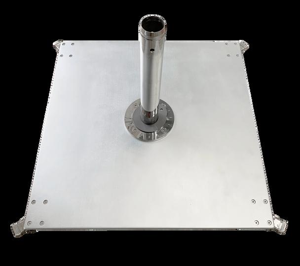 Galvanized Steel Matte Silver  Square Double Plate Stack by Frankford Umbrella