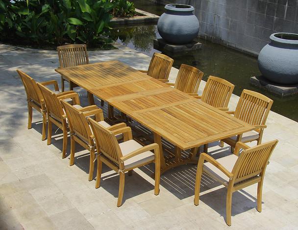 Daytona Teak Dining Table Set 11Pc