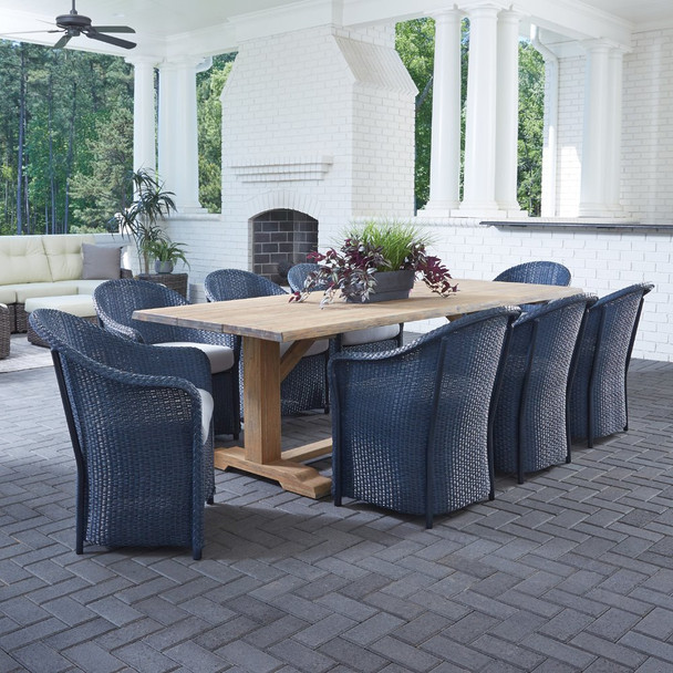 Lloyd Flanders Weekend Retreat Outdoor Wicker Dining Set with Teak Table