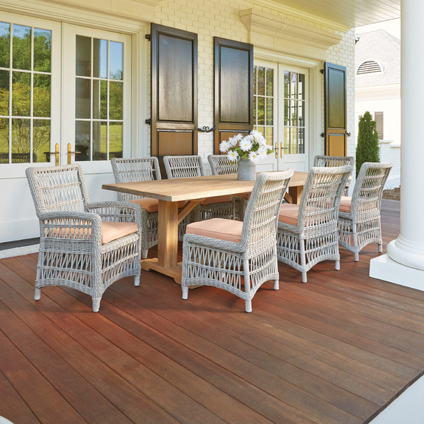 Mackinac Dining Set with Live Edge Teak Table By Lloyd Flanders