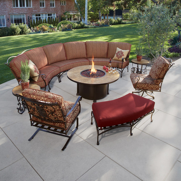 San Cristobal 9 Piece Curved Sectional Set with Fire Pit Table By Ow Lee