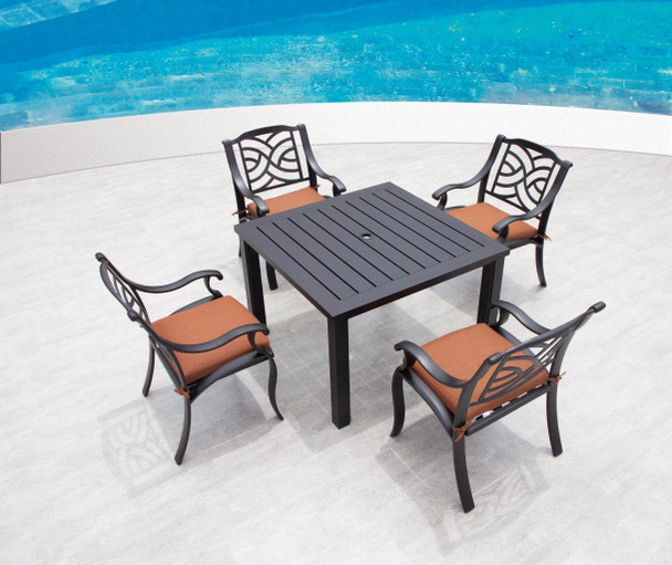 Somerset Outdoor Dinning Set for 4 With sherwood Table by Hanamint
