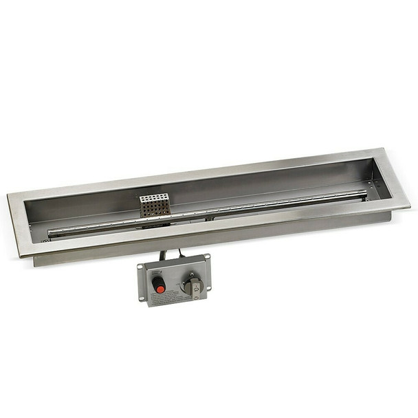 """48"""" x 6"""" Stainless Steel Linear Drop-in Fire Pit Pan With Electric Ignition System kit"""