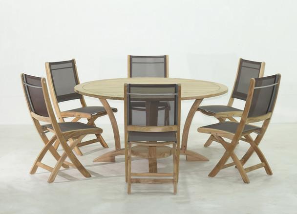 NEWPORT TEAK TABLE SET 7PC