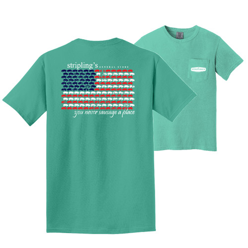 Stripling's Short Sleeve Flag Design T-shirt- Chalky Mint