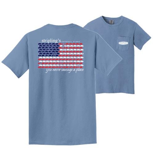 Stripling's Short Sleeve Flag Design T-shirt- Washed Denim