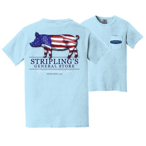 Stripling's Short Sleeve American Pig T-shirt- Chambray