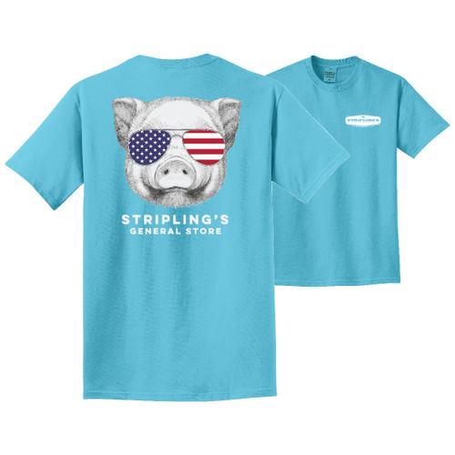 Stripling's Short Sleeve Pig with Glasses T-shirt- Tidal Wave