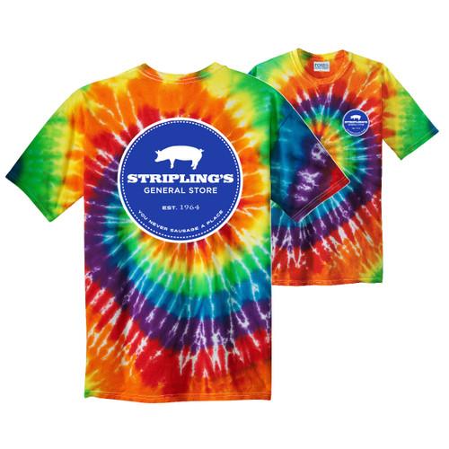 Stripling's White Logo-RainbowTie Dye