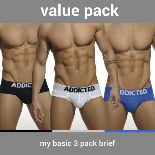 Addicted Underwear My Basic 3-Pack Briefs (AD420P-3COL)