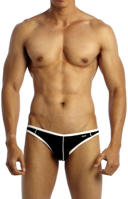Groovin' Underwear Accent V-Cut Bikini Black Front View