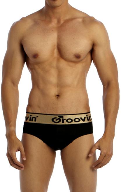 Groovin' Underwear Bold-Line Sports Jock Black Front View