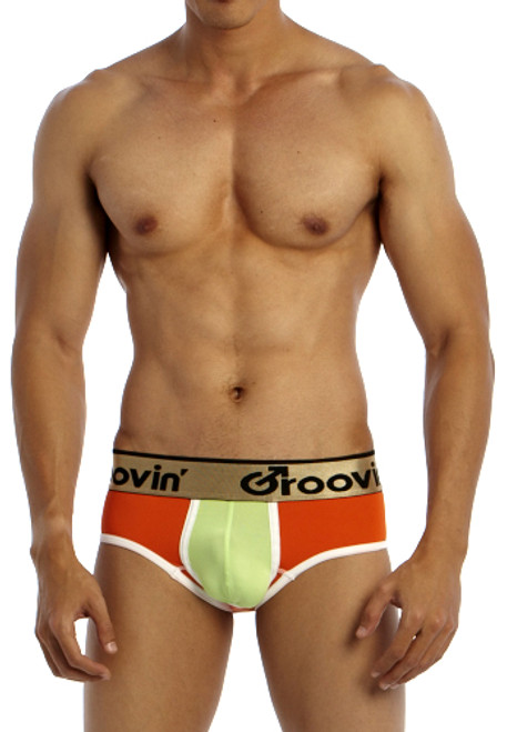 Groovin' Underwear Bold-Line Sports Jock Orange-Green Front View