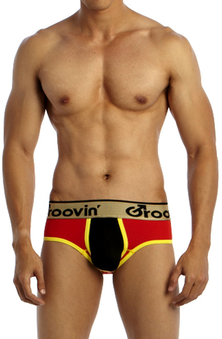 Groovin' Underwear Bold-Line Sports Jock Red-Black Front View