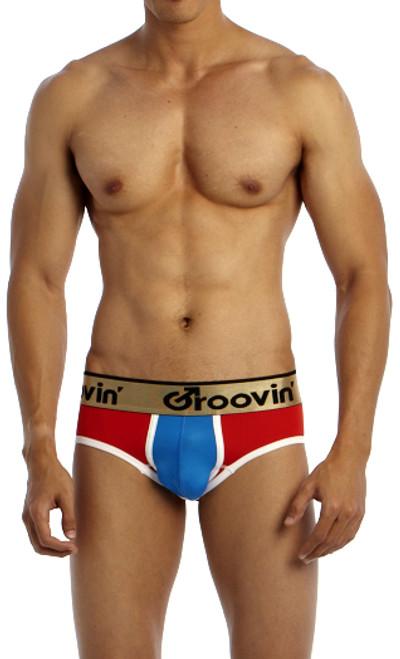 Groovin' Underwear Bold-Line Sports Jock Red-Blue Front View