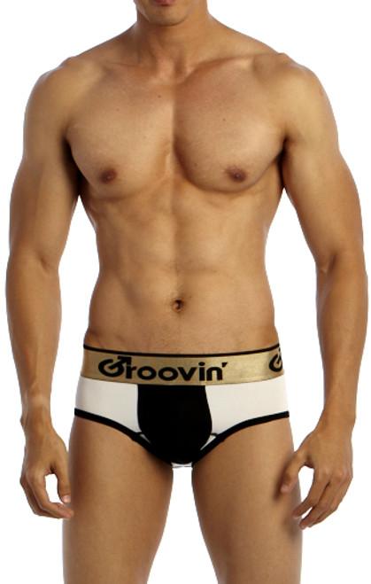 Groovin' Underwear Bold-Line Sports Jock White-Black Front View