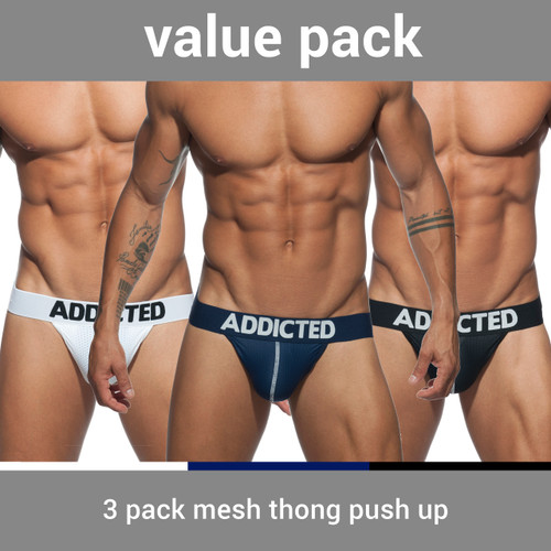 Addicted Underwear 3-Pack Mesh Thong Push up (AD732P-3COL)