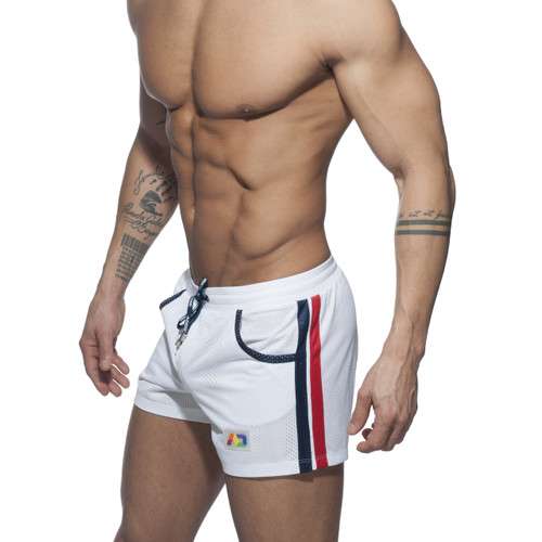 Addicted Mesh Rainbow Shorts White (ADS178-01)