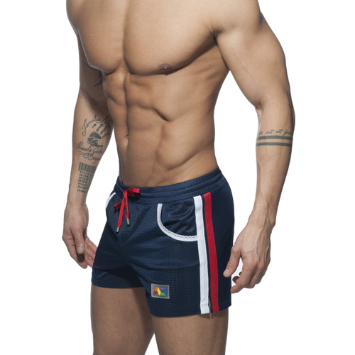 Addicted Mesh Rainbow Shorts Navy (ADS178-09)