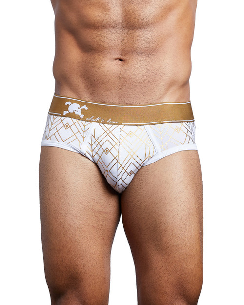 Skull and Bones Underwear Gold Deco Brief White