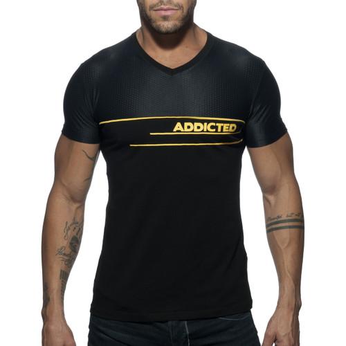 Addicted V-Neck AD Combi Mesh T-Shirt Black (AD660-10)