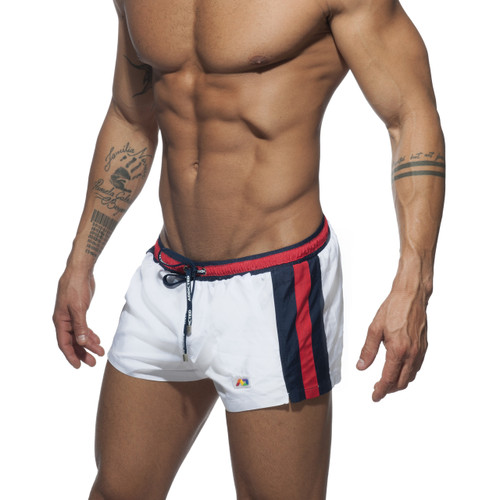 Addicted Swimwear Gold Stripes Basic Swim Short White (ADS214-01)