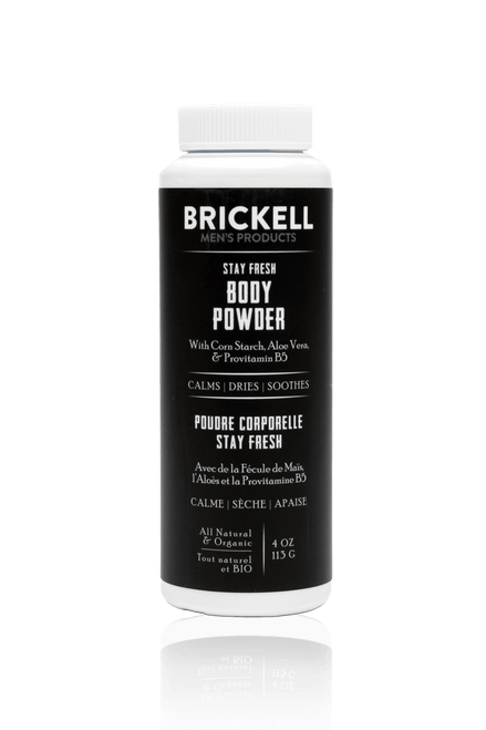 Brickell Men's Products Stay Fresh Body Powder for Men (4oz)
