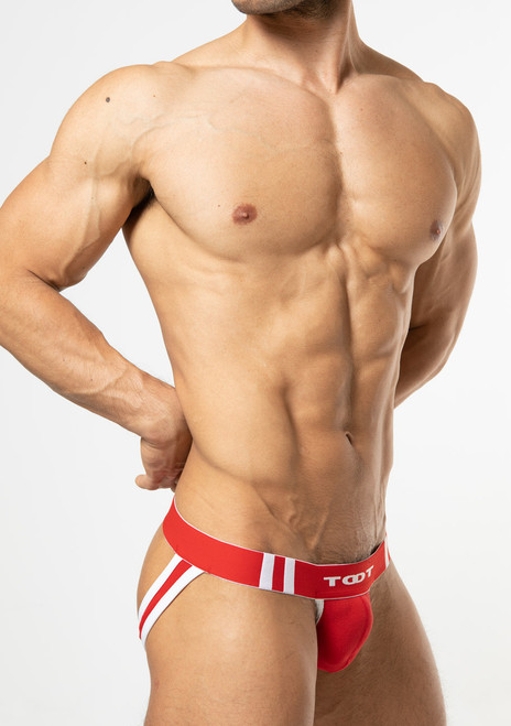 TOOT Underwear High-Fit Moss Stitch Y-Back Jock Red (YB19I295-Red)