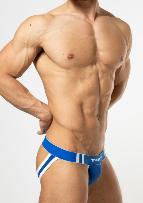 TOOT Underwear High-Fit Moss Stitch Y-Back Jock Blue (YB19I295-Blue)