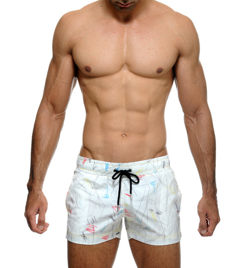 STUD Beachwear Scribble Shorts White (RW971BS02)