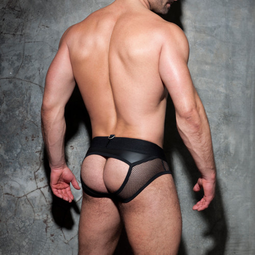 Addicted Underwear Fetish Mesh Mixed Bottomless Brief Black (ADF77-10)