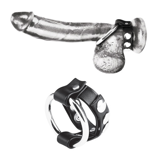 Blueline Metal Cock Ring with Adjustable Snap Ball Strap (BLM3064)
