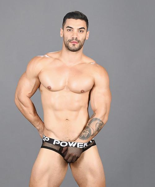 Andrew Christian Underwear Power Top Mesh Brief (91456-BLK)