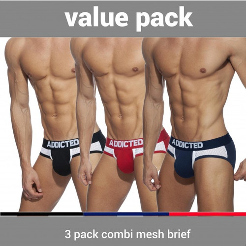 Addicted Underwear 3-Pack Combi Mesh Briefs (AD845P-3COL)