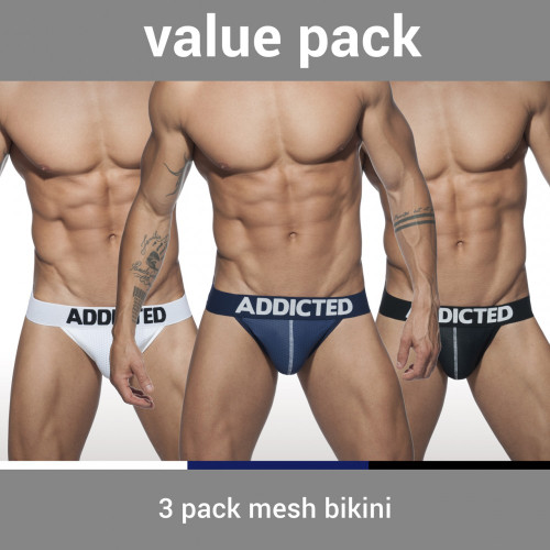 Addicted Underwear 3-Pack Bikini Mesh Briefs