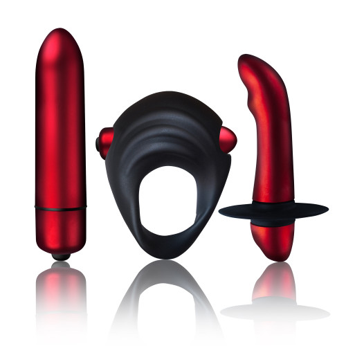 Rocks-Off Truly Yours Red Temptations Set (Vibrating Bullets, Cock Ring & Prostate Massager)