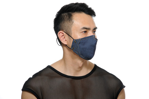 STUD 2-Pack Face Mask Denim Blue with PM 2.5 Filter Insert