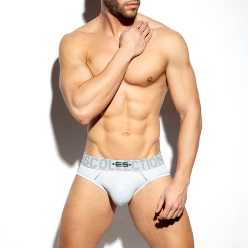 ES Collection Underwear UN424 Shiny Rib Brief White (UN424-01)
