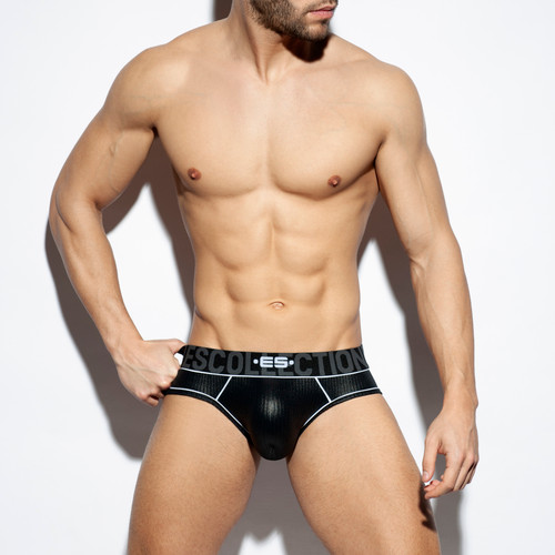 ES Collection Underwear UN424 Shiny Rib Brief Black (UN424-10)